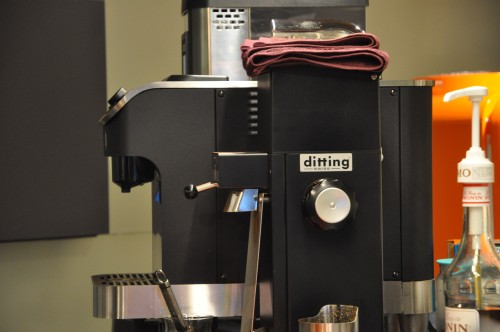 Chan's - Ditting grinder with the Clover machine in the background