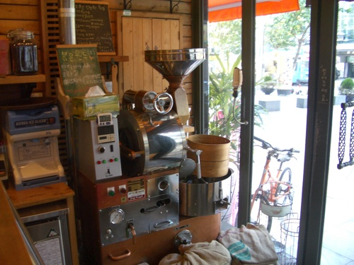 The coffee roasting machine at Cafe Classico
